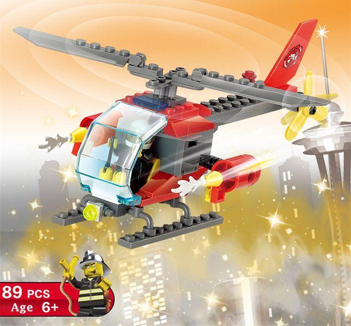 LOZ ABS 89pcs Firefighter Helicopter Building Block DIY Model for Kids