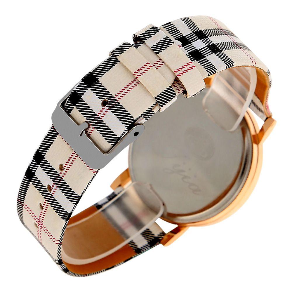 Jijia Golden Case Women Quartz Watch with Plaid Leather Strap