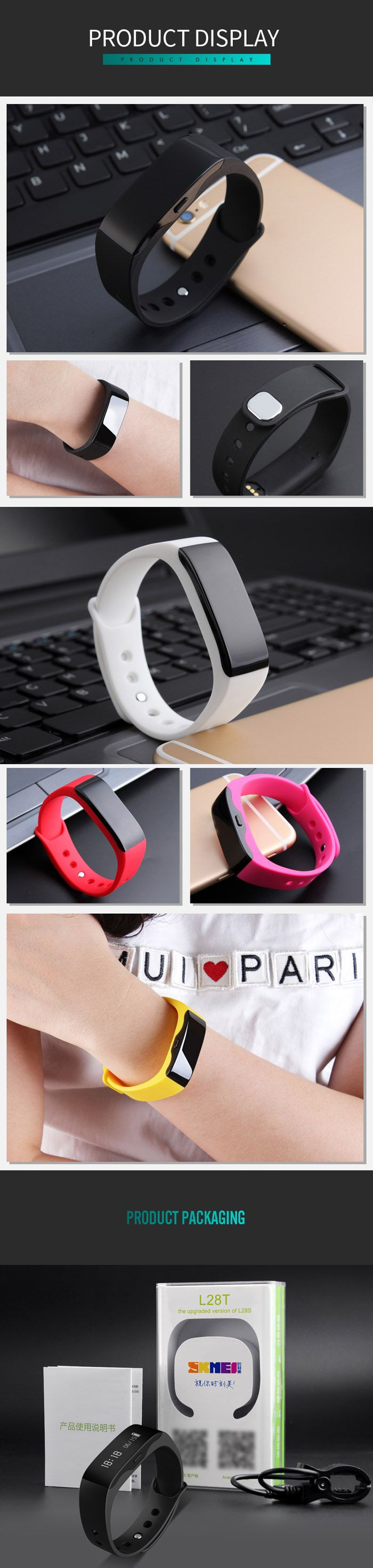 SKMEI L28T Real-time Sports Track Smart Wristband with 30m Waterproof Grade