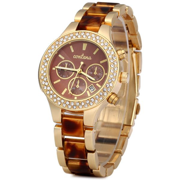 Contena Geneva Date Function Female Quartz Watch Diamond Round Dial Steel Strap