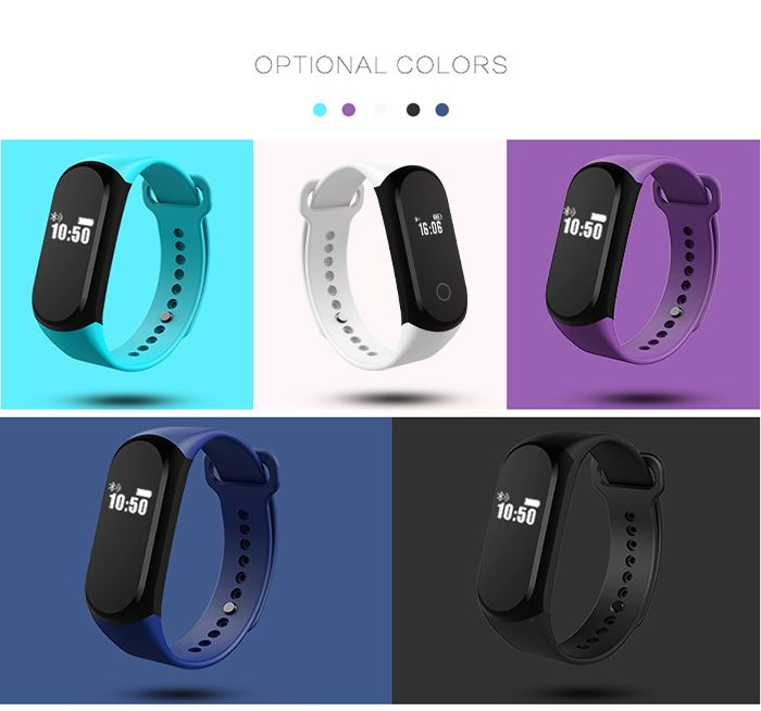 A16 BLE 4.0 ADI Sensor Heart Rate Smart Bracelet with Alarm 30 Days Standby Time