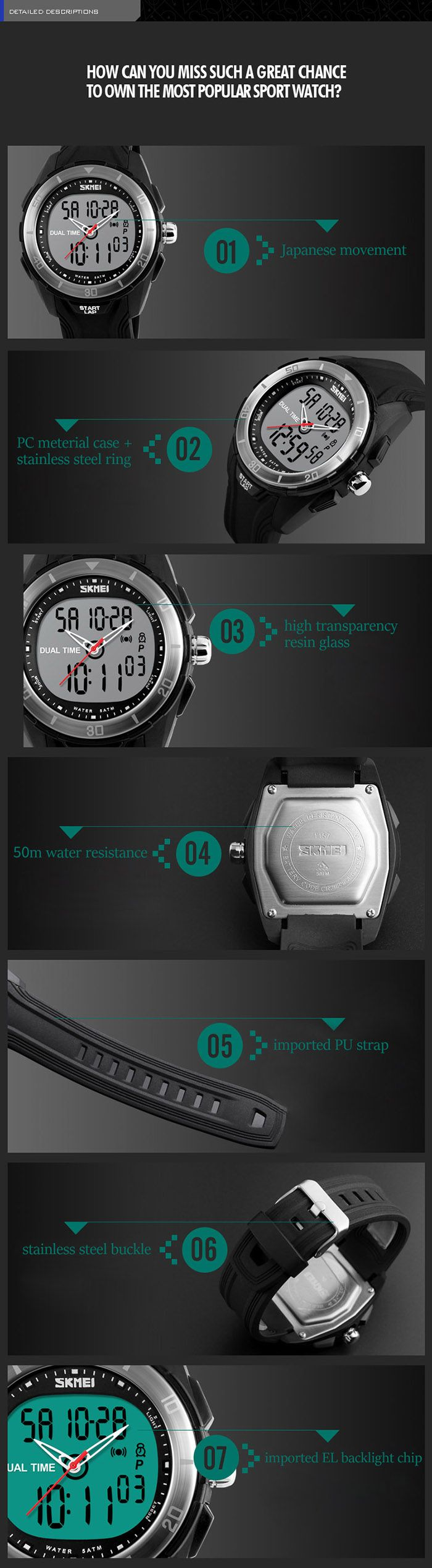 SKMEI 1157 Fashion Dual Time Sports Watch with EL Backlight 50M Water Resistance