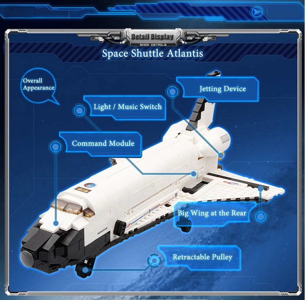 spacecraft atlantis model building block 630pcs advanced level