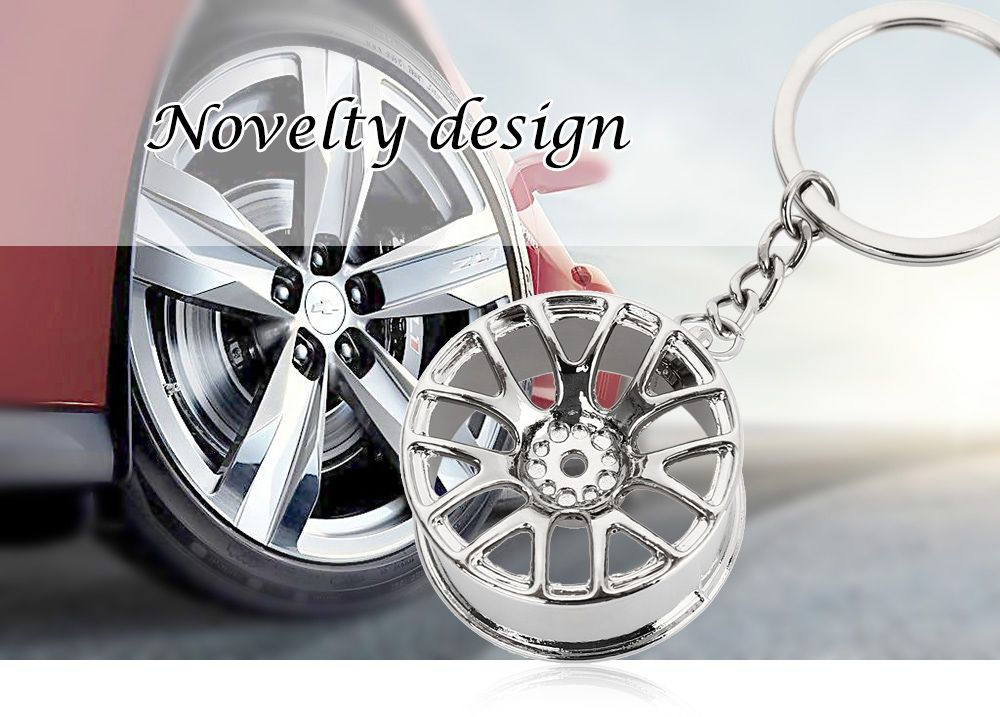 Wheel Hub Alloy Key Chain Hanging Pendant Keyring - 3.54 inch