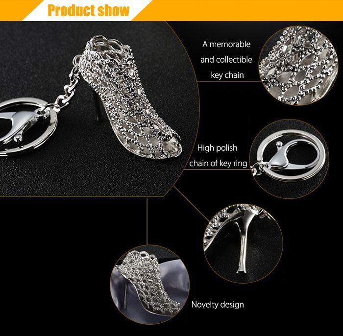 Alloy Key Chain High Heel Shoe Hanging Pendant Keyring - 4.3 inch