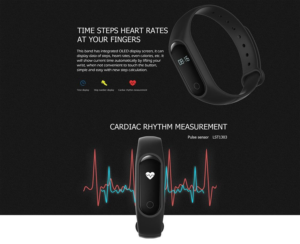 OUKITEL A16 Heart Rate Monitor Smart Bracelet Sleep Track Pedometer Wristband