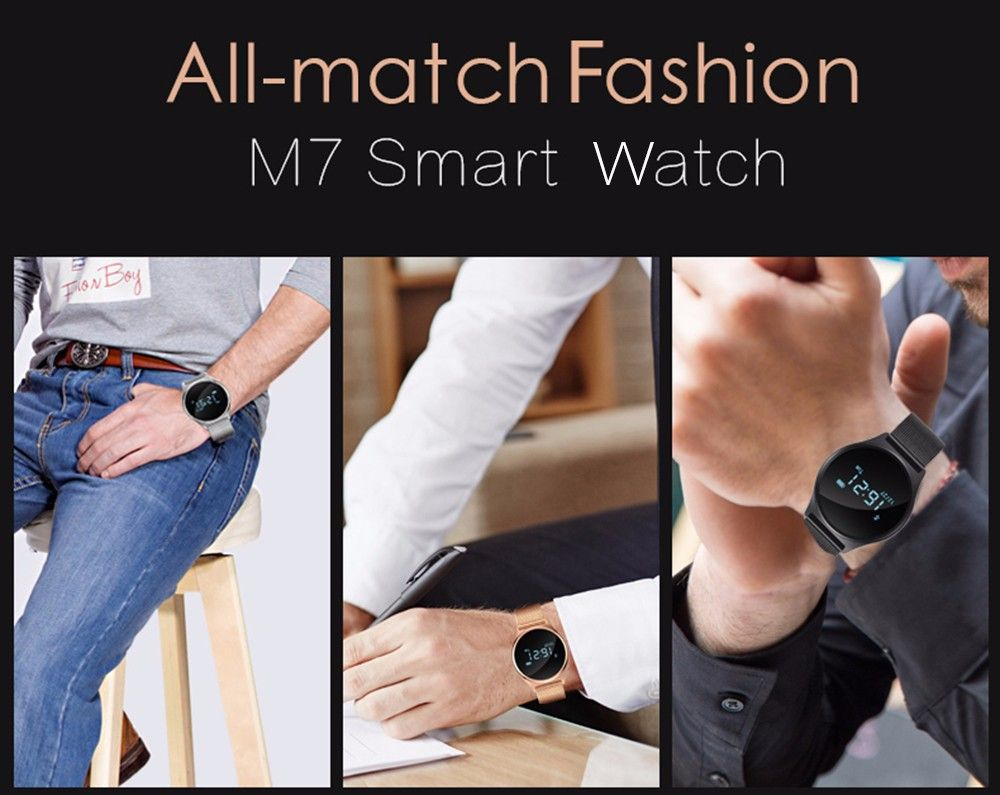 M7 Bluetooth 4.0 Heart Rate Blood Pressure Smart Wristband Pedometer Sedentary Remind Watch