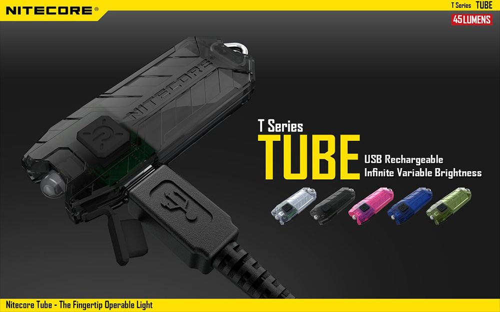Nitecore TUBE 45Lm 2 Modes USB Rechargeable LED Keychain Light Flashlight