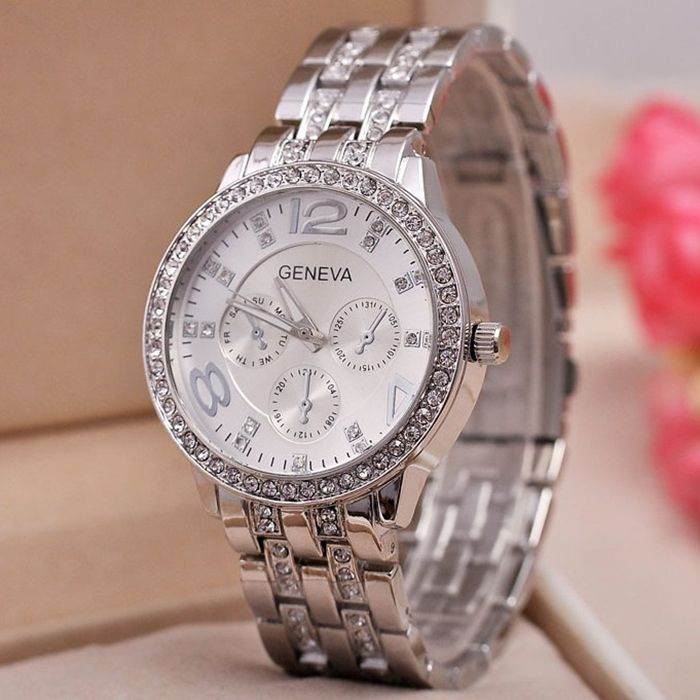 GENEVA Quartz Watch with Diamonds Round Dial and Steel Watch Band for Women