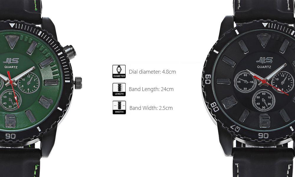 JIS Flash Light Men Quartz Watch with Leather Strap