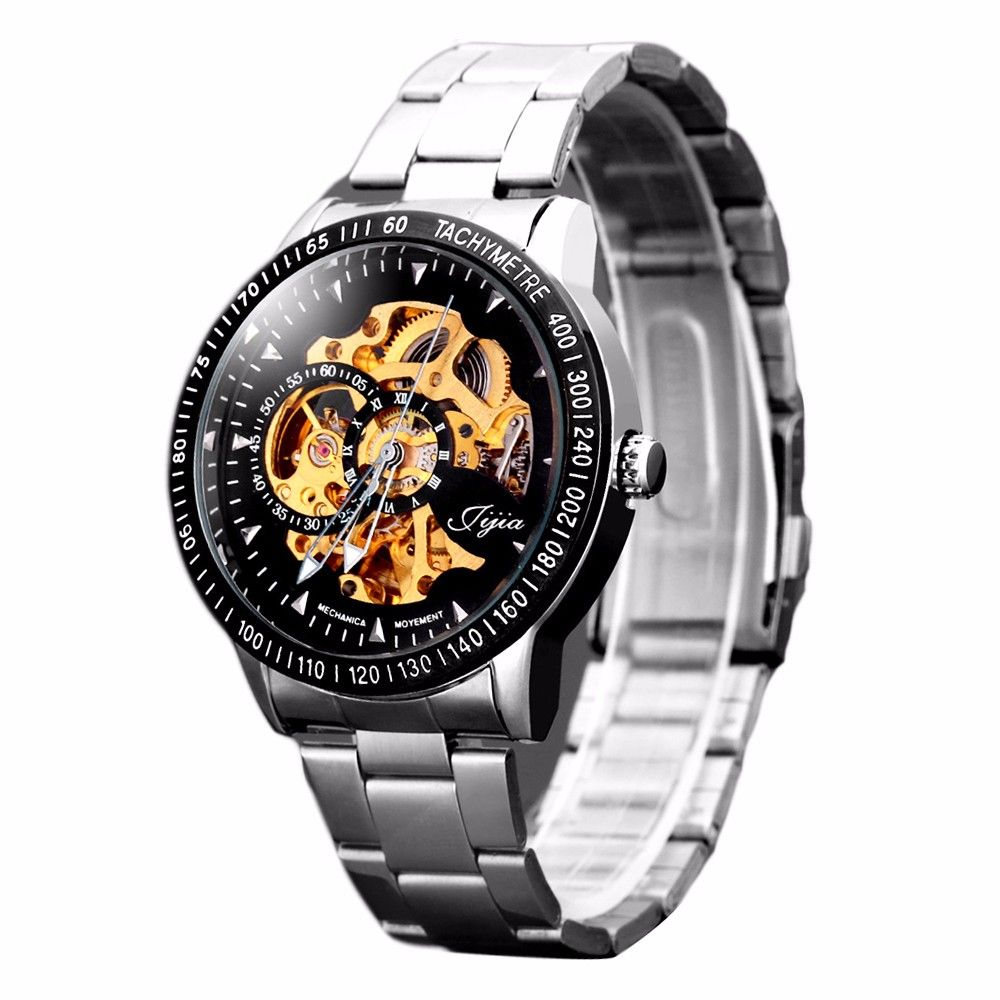Jijia 8010 Hollow-out Automatic Mechanical Watch Round Dial Stainless Steel Band for Men