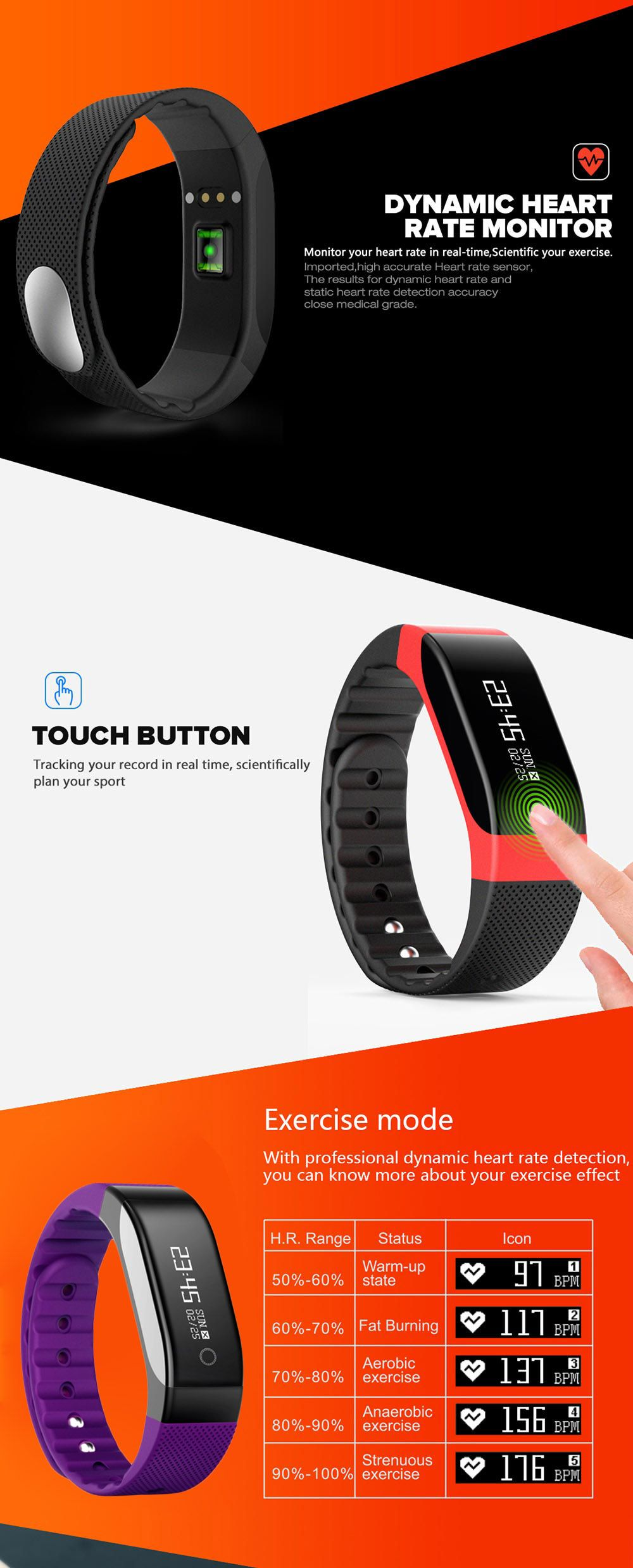 SMA - BAND Bluetooth 4.0 Smart Wristband with 0.88 inch OLED