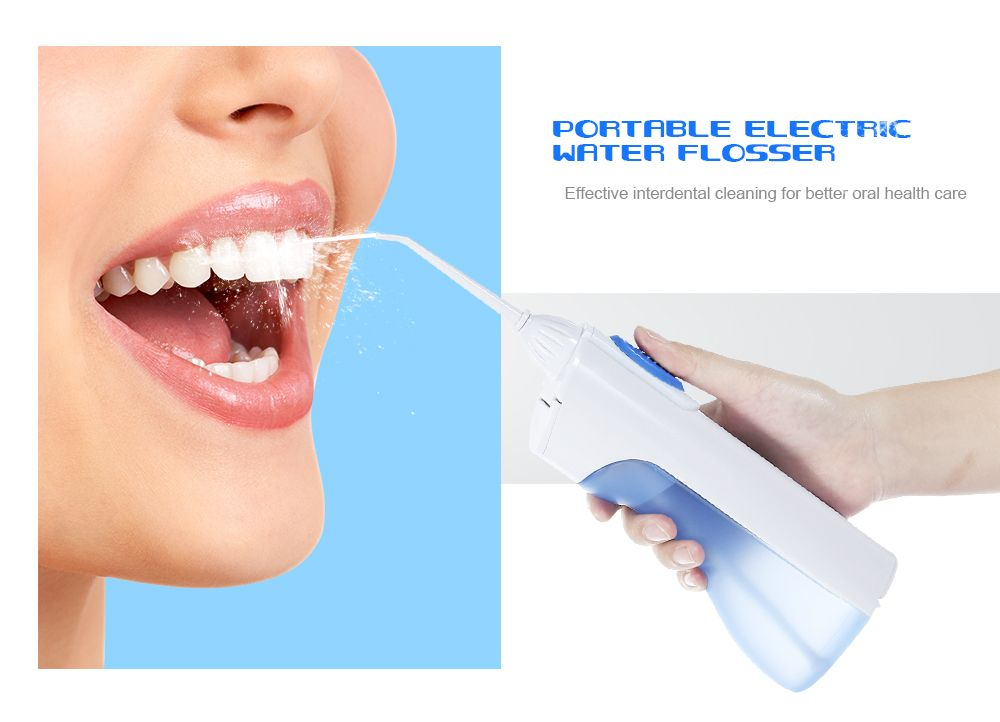 Portable Desktop Electric Dental Water Flosser Cordless Teeth Cleaning Tools with 2 Floss Tips