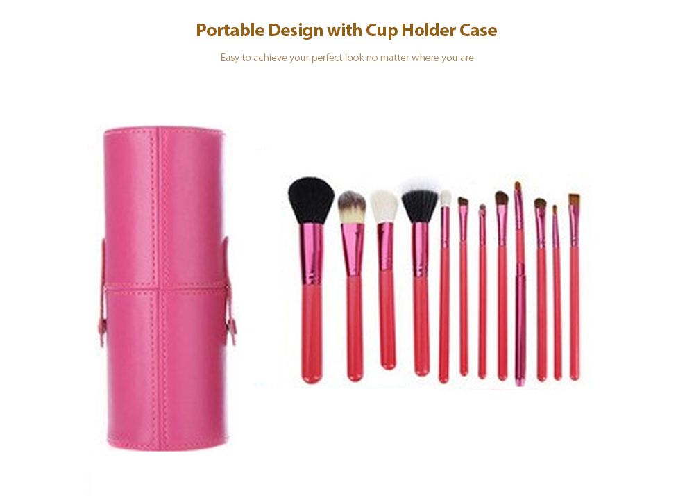 TODO 12pcs Makeup Brushes Cosmetic Tool with Cup Holder Case