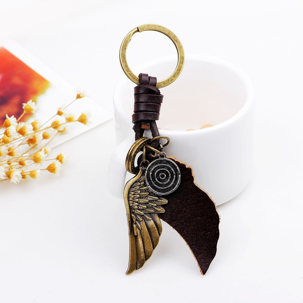Personalized Bronze Tone Angel Wing Shaped Pendant Keychain