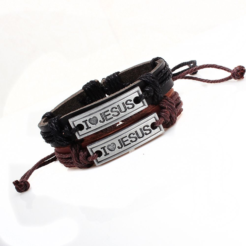 Religion Jewelry Christian Engraved I Love Jesus Leather Bracelet