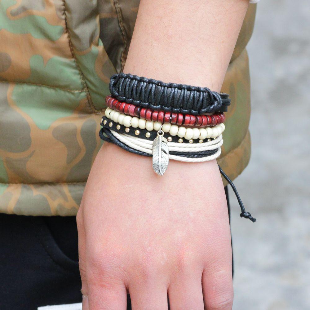 Boho Feather Charm Leather Multi Strand Wood Beads Bracelet