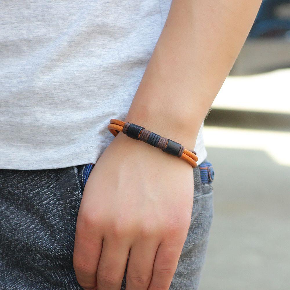 Vintage Hook Clasp Design Wire Wrap Leather Wristband Bracelet