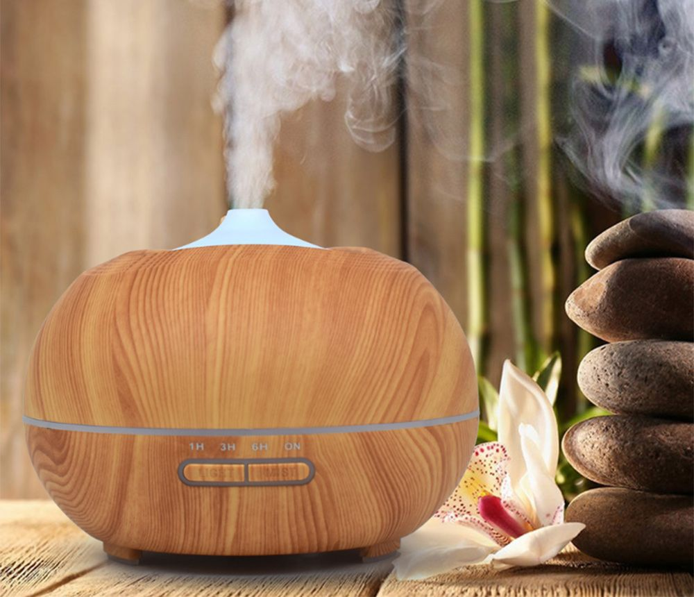 350ml Ultrasonic Wood Grain Essential Aroma Diffuser LED Light