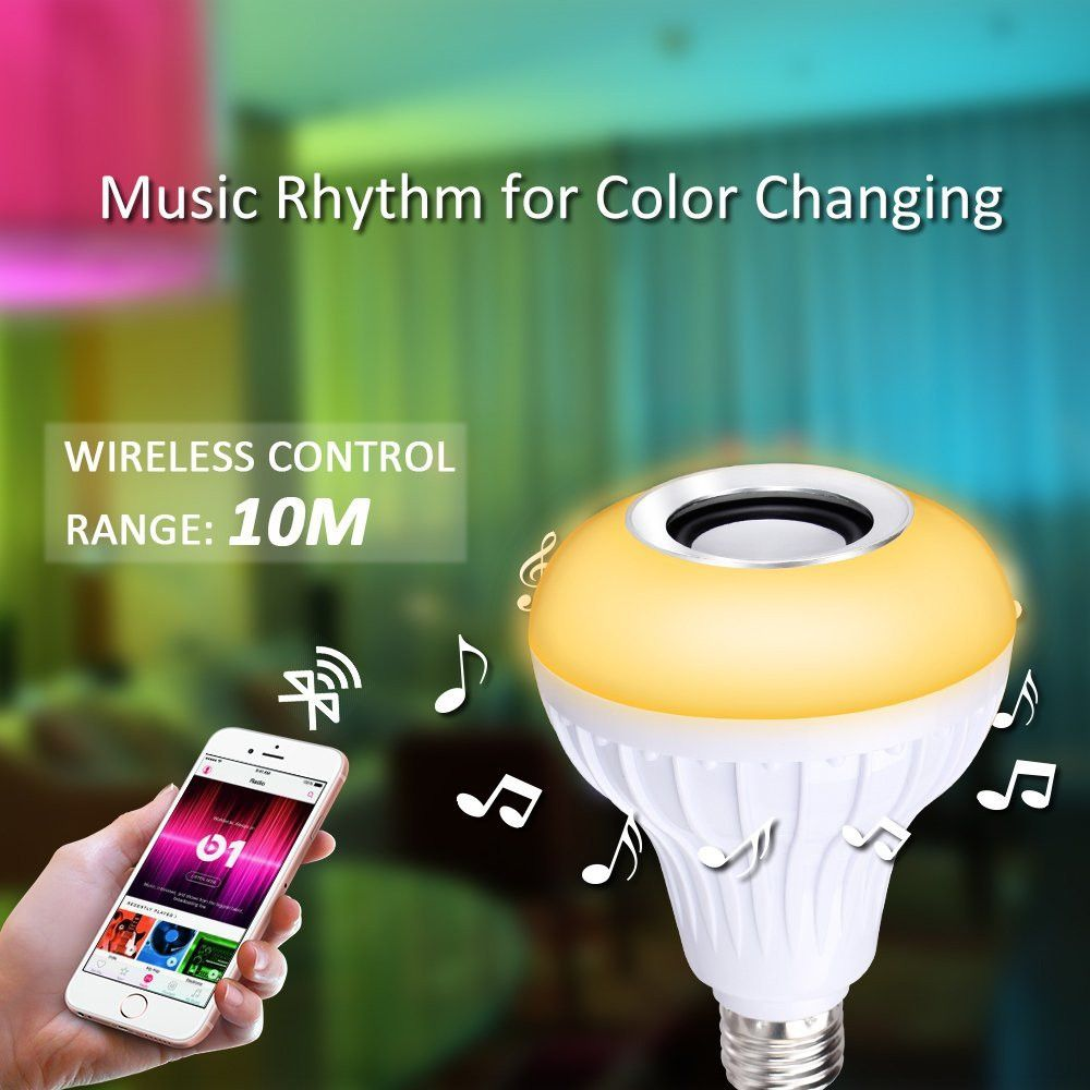 Supli Led 10W Rgb Smart Light Bulb Speaker Generation Ii with Updated Remote Control - New Function of Light Flashing As Music Goes