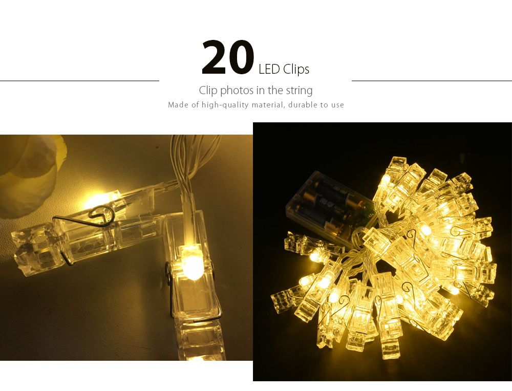 LED 20pc-clip Light String Warm White Lights Decorative Lights