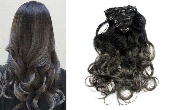 TODO 24inch Curly Ombre Style 7-Piece 16-Clip Hair Extensions