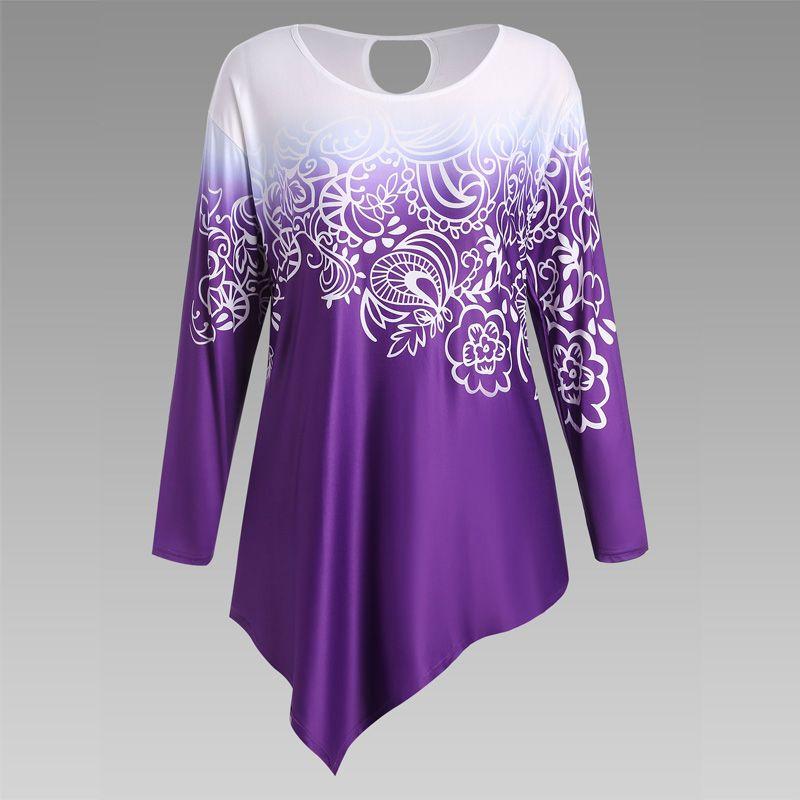 Autumn New Printing Irregular Long-Sleeved Large Size Female T-Shirt