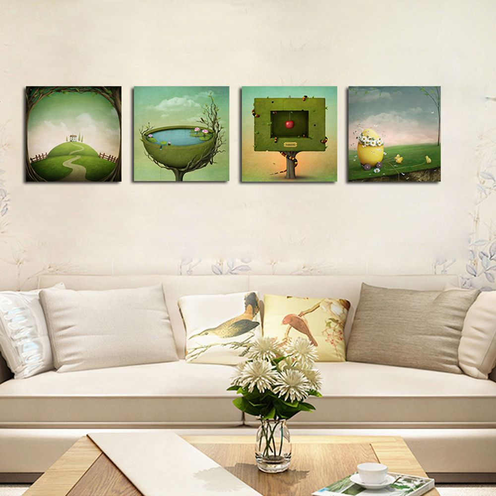 Hx-Art No Frame Canvas Four Piece of Fantastic Modern Living Room Decoration Painting