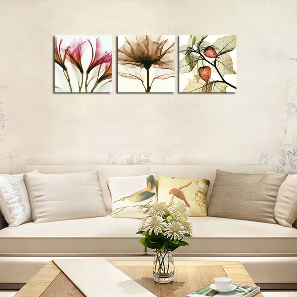 Hx-Art No Frame Triple Abstract Canvas Painting Flower Living Room Decorated In Modern Minimalist Paintings