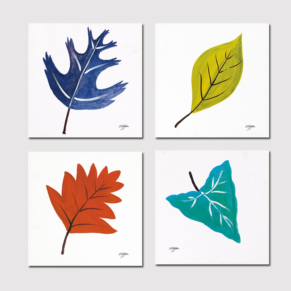 Hx-Art No Frame Canvas Simple Leaves Four Sets of Painting The Living Room Decoration