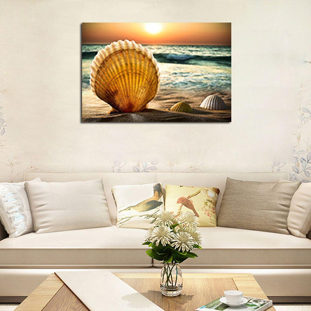 Hx-Art No Frame Canvas Canvas Sea Sunrise Living Room Decoration Paintings