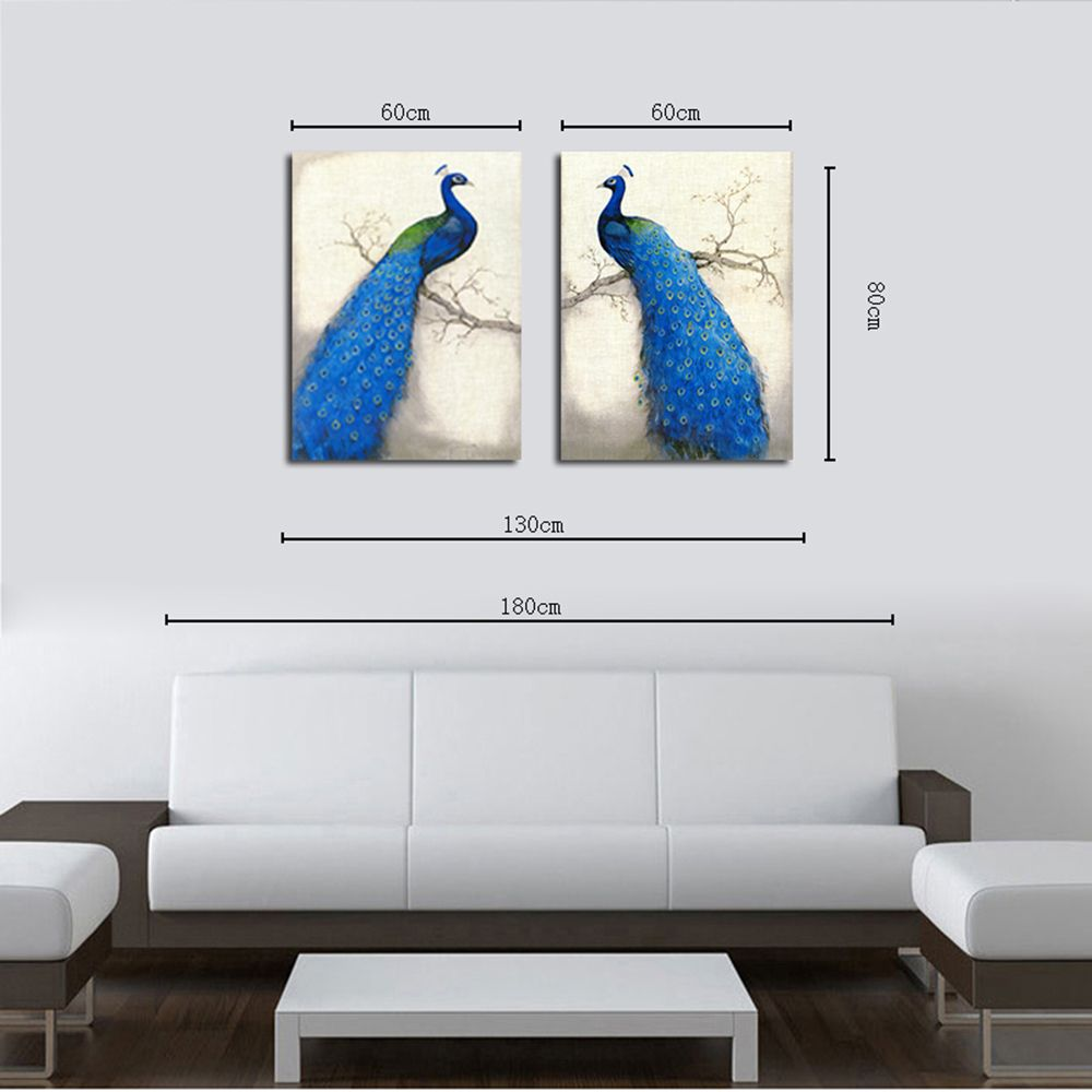 Hx-Art No Frame Canvas Animal Peacock Room Twin-Decorative Painting