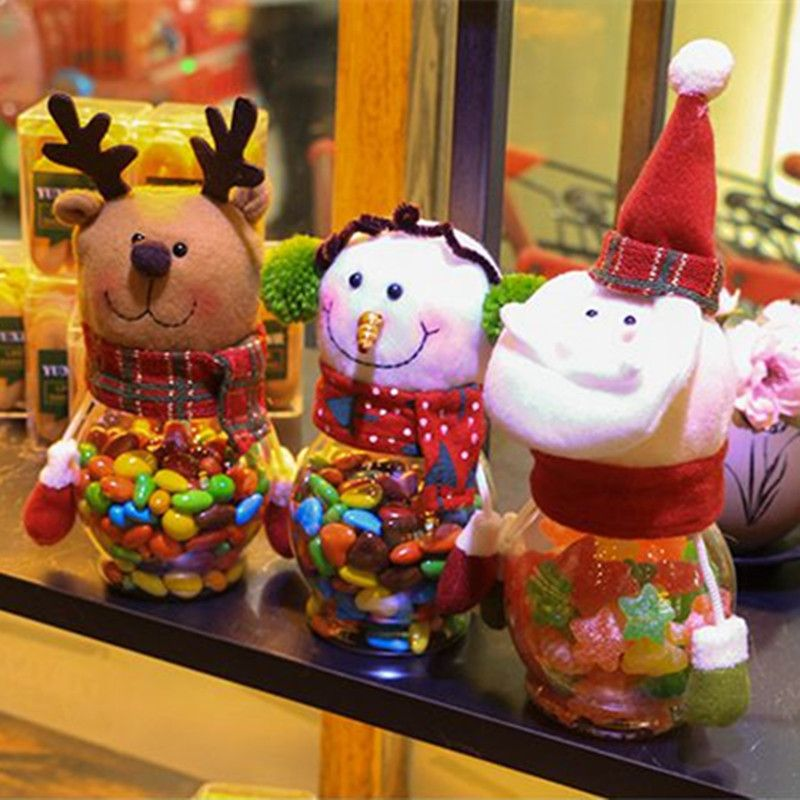 Christmas Snowman Plastic Candy Containers Decorative Candy Bottles Holiday Decorations