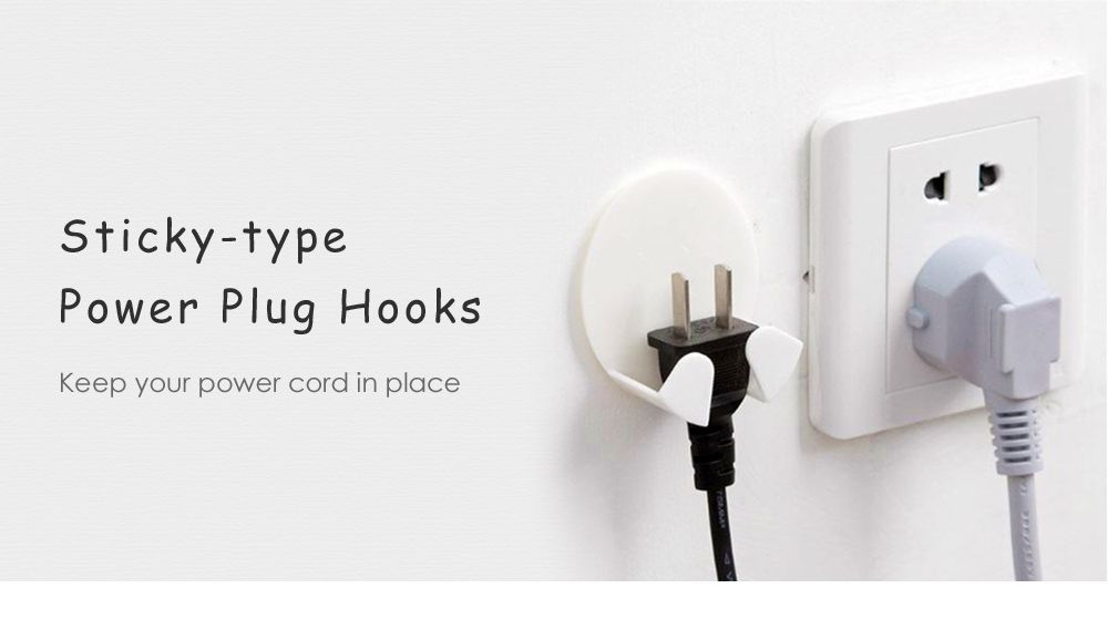 Strong Stick-Type Power Plug Hook 4pcs / Set