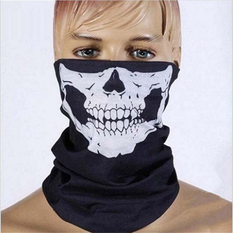 Halloween Party Skull Mask Black Motorcycle Multifunctional Headgear Hat Scarf Neck