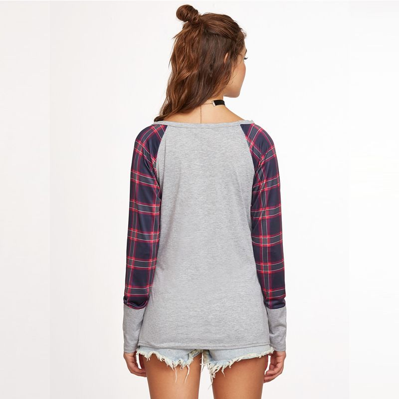 The New Grid Stitching Round Neck Long Sleeve T-Shirt