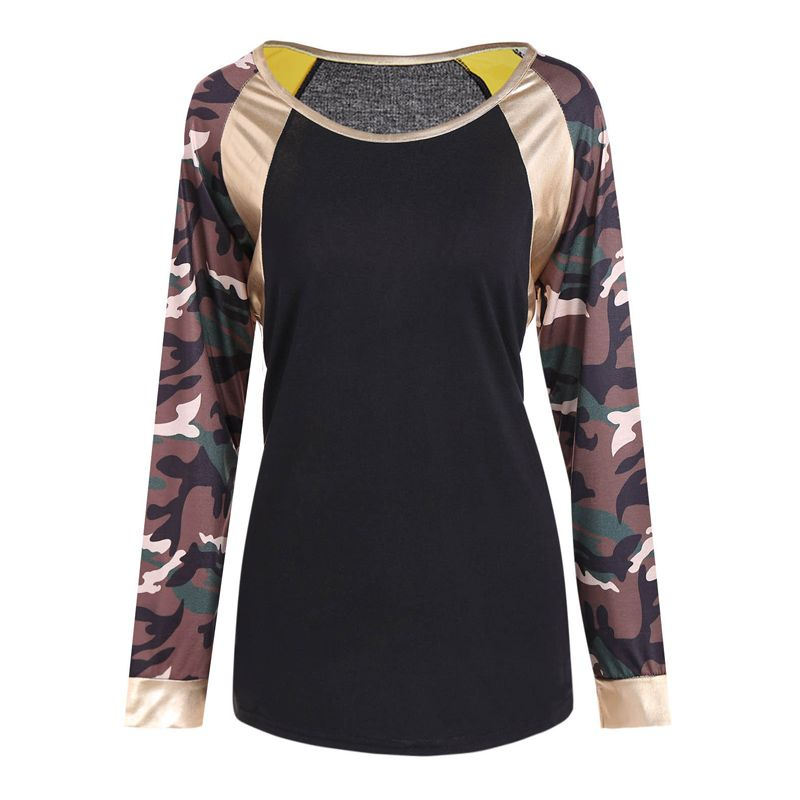 New Round Neck Camouflage Long Sleeve T-Shirt