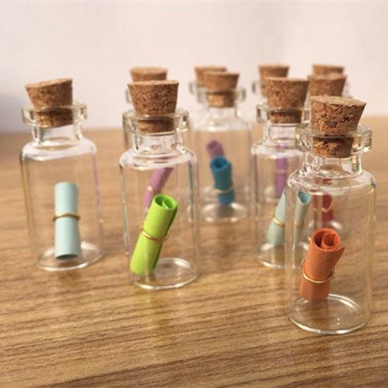 DIY 50PCS Mini Clear Glass Bottle Vials Empty Sample Jars with Cork Stopper Message Vial Weddings Wish Glass