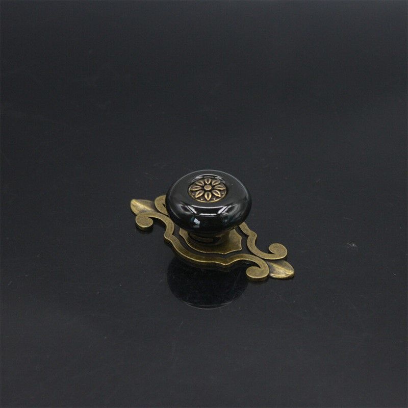 Zinc Alloy Cabinet Door Drawer Ceramic Antique Copper Color Handle Single Hole European Style