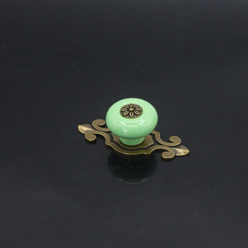 Zinc Alloy Cabinet Door Drawer Ceramic Antique Copper Color Handle Single Hole European Style