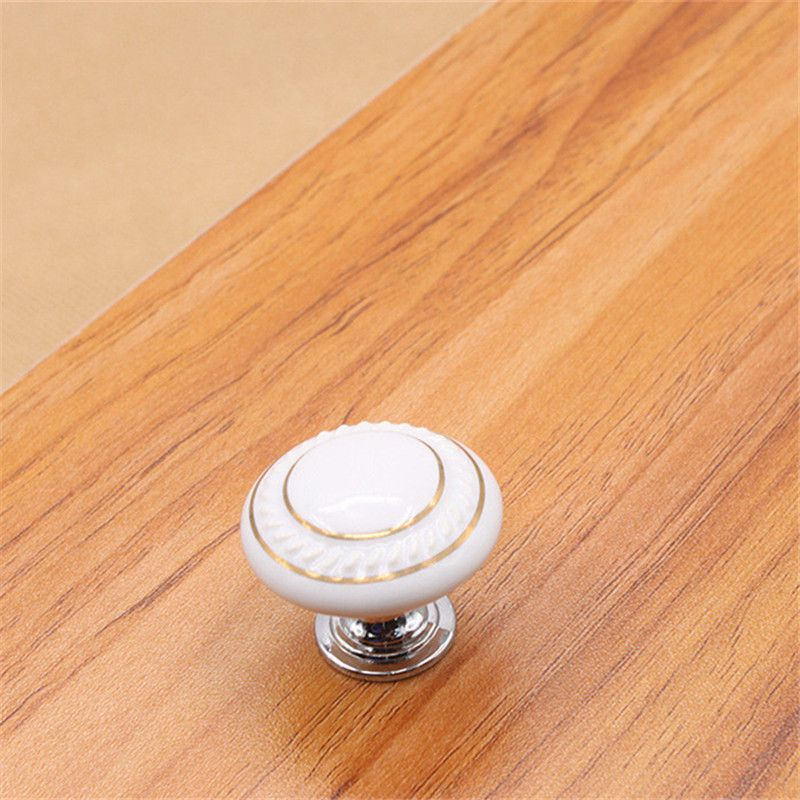 European White Ceramic Handle Cabinet Silver Zinc Alloy Single Round Handle Modern Minimalist