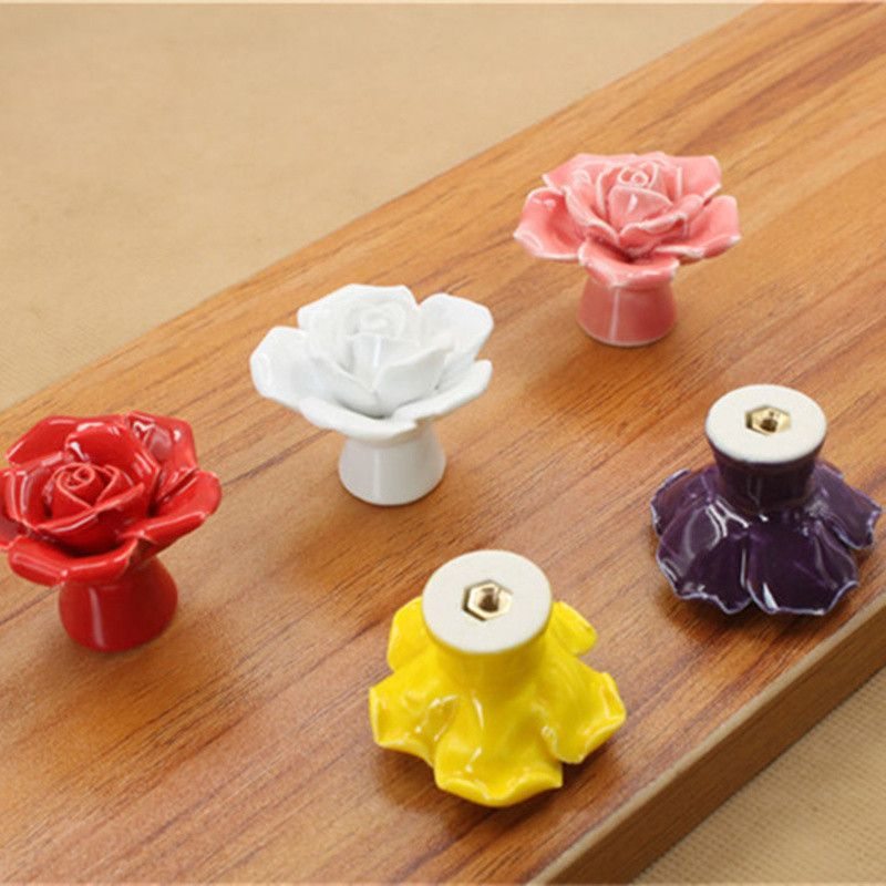 Modern Rose Flower Handles Cabinet Ceramic Knobs Dresser Closet Kids Bedroom Furniture