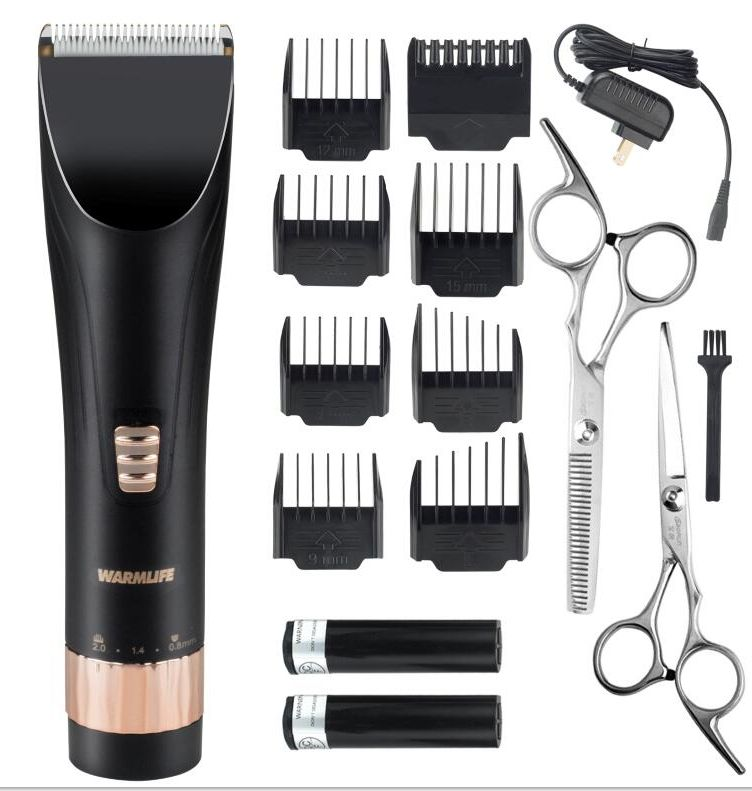 Warmlife Professional Cordless Hair Clippers Set Electric Hair Trimmer for Men And Baby Rechargeable Haircut Kit with 2 Batteries 8 Combs 2 Scissors Black
