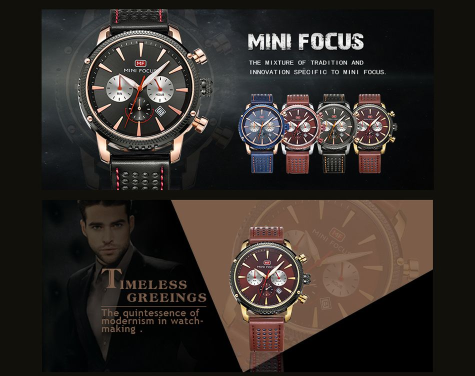 MINI FOCUS Mf0010G 4369 Leisure Calendar Display Men Watch