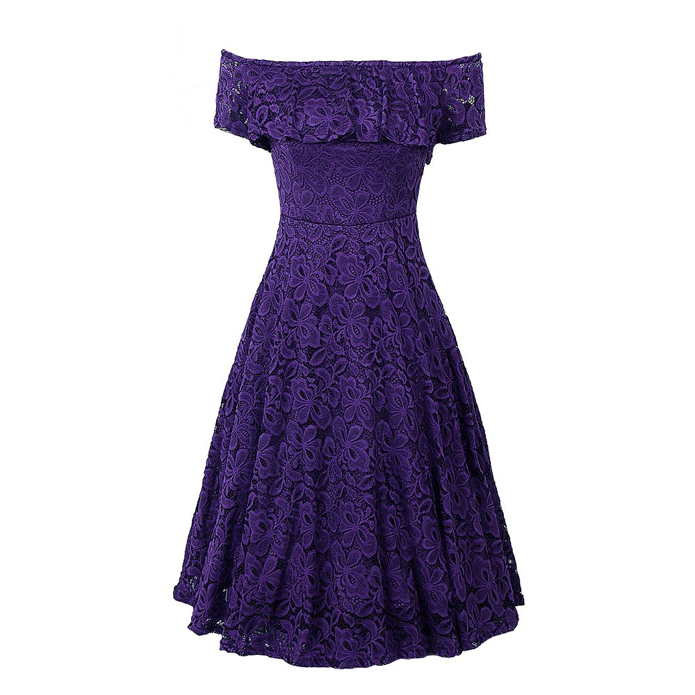 Sexy Off Shoulder Floral Lace Party Swing Dresses Women Dress Cascading Ruffle Lace Casual Formal A Line Dress