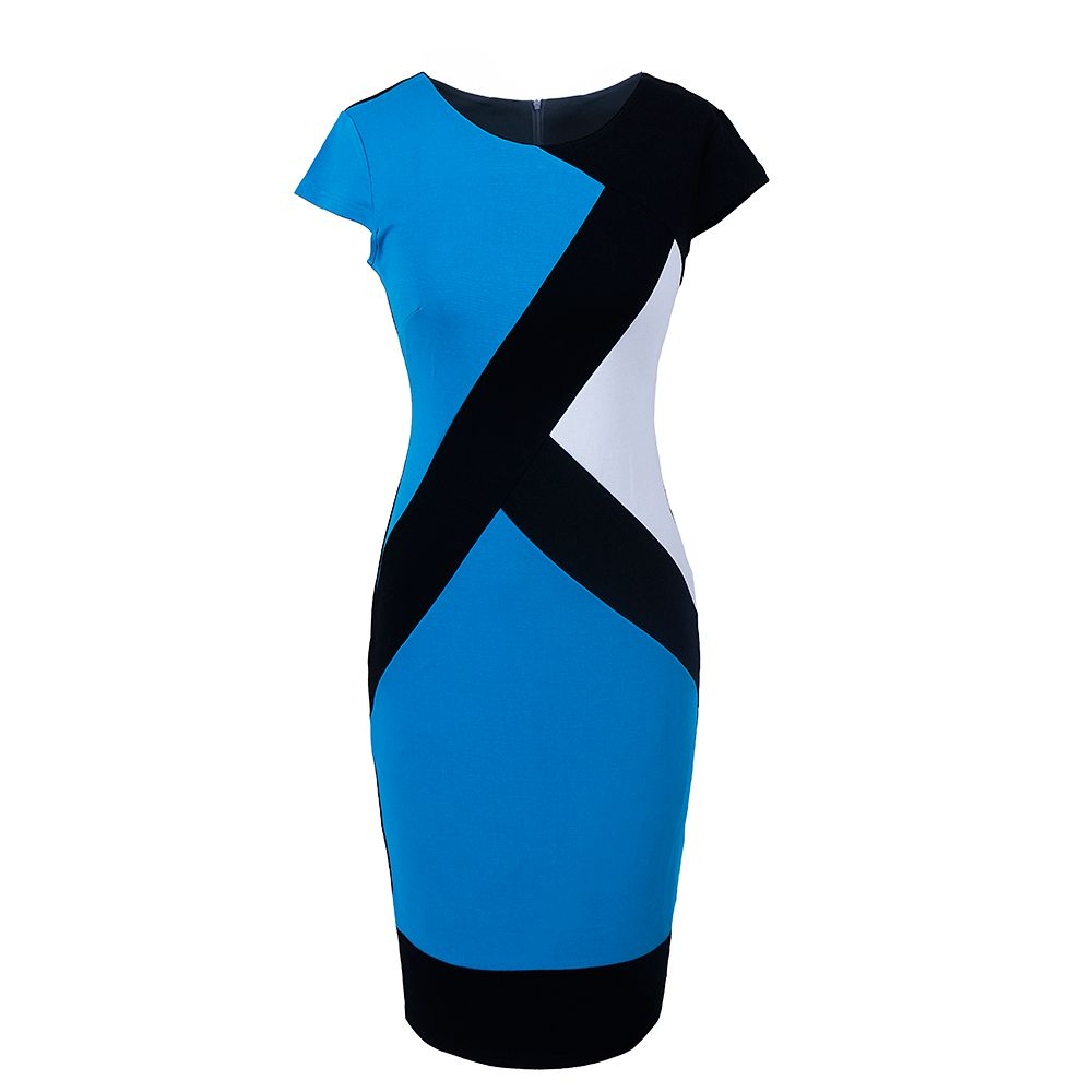 2017 Optical Illusion Patchwork Contrast New Style Women Elegant Slim Casual Work Office Business Party Bodycon Pencil Dress