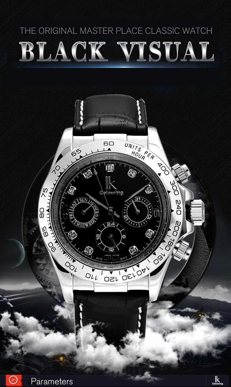 IKCOLOURING 98419G 4592 Fashion Crystal Decoration Men Watch
