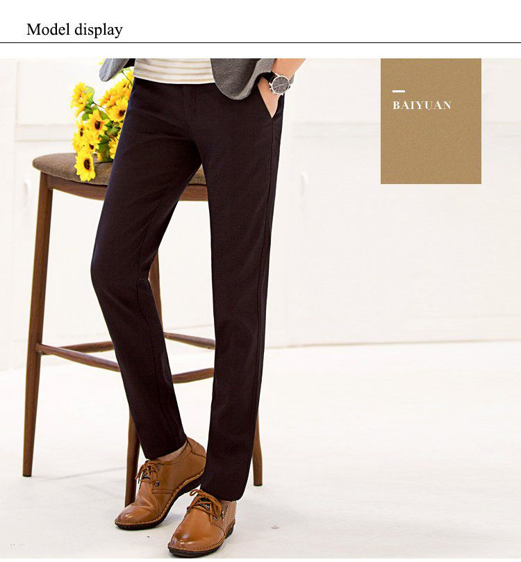 Baiyuan Trousers Autumn Business Casual Slim Fit Mens Suit Pants Red Wine