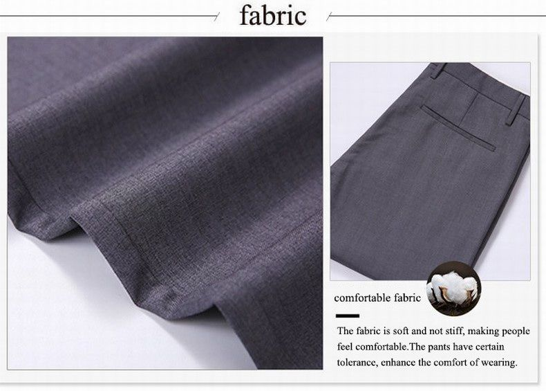 Baiyuan Trousers Bussiness Casual Slim Fit Mens Suit Pants Grey