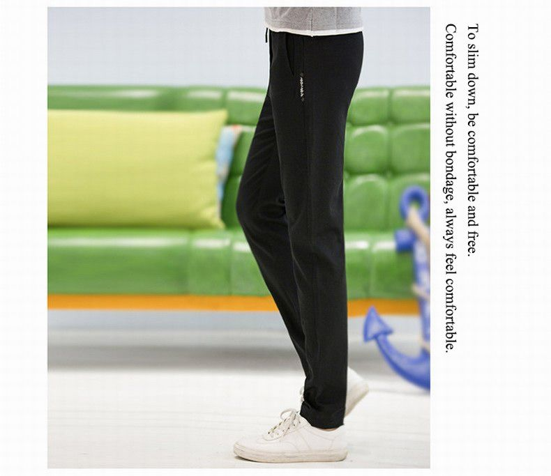 Baiyuan Trousers Autumn Fashion Casual Slim Fit Mens Long Pants Black